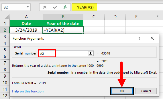 Excel YEAR Formula Example 1-3