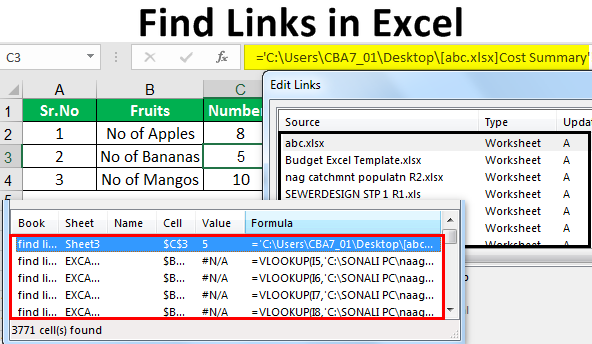 Find Links in Excel