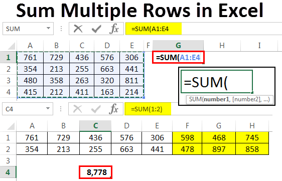How to Sum Multiple Rows in Excel