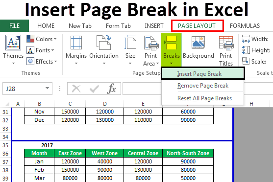 Insert Page Break in Excel