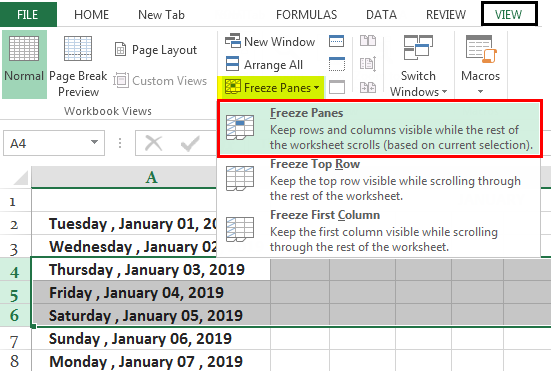 Freeze Cells in Excel Ex. 1.1