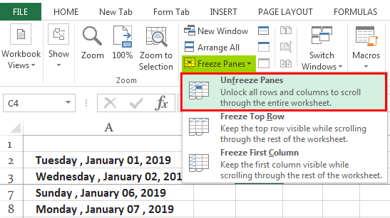 Freeze Cells in Excel Ex. 1.3