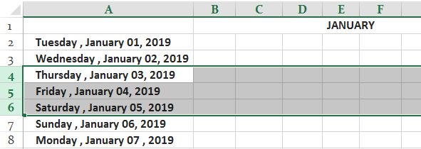 Freeze Cells in Excel Ex. 1