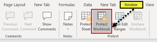 Protect Workbook Excel Example 1-5