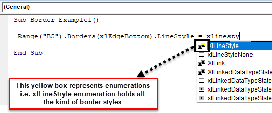 VBA Borders Example 1-5