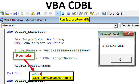 VBA CDBL Function | Convert Value to Double DataType Using