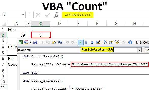 VBA Count | Count Numerical Values Using Count Function in Excel VBA