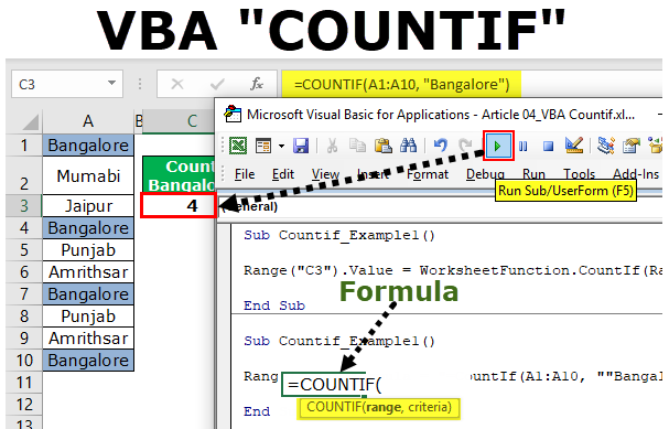 VBA COUNTIF (Examples) | How to use COUNTIF Function in Excel VBA?