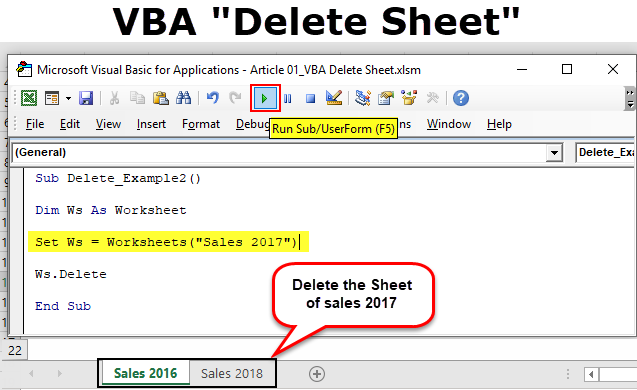 VBA Delete Sheet | How to Delete Worksheet with VBA Code ...
