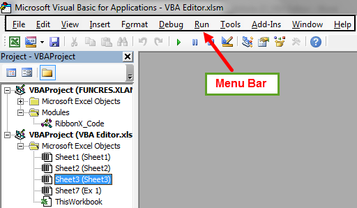 visual basic editor in excel VBE step 1