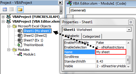 visual basic editor in excel VBE (Properties window)