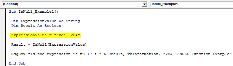 VBA ISNULL Example 1