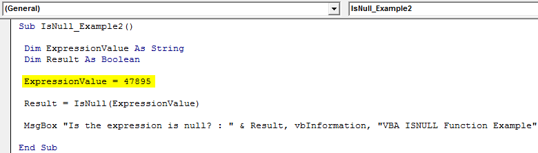 VBA ISNULL Example 2