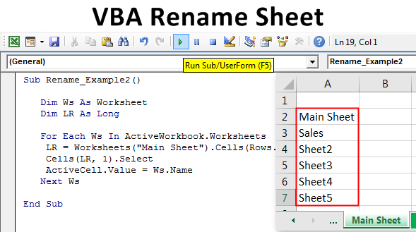 VBA Rename Sheet | How to Rename Excel WorkSheet Using VBA Code?