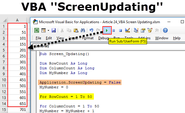 VBA Screen Updating