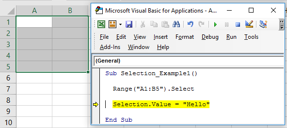 VBA Selection Example 1-2