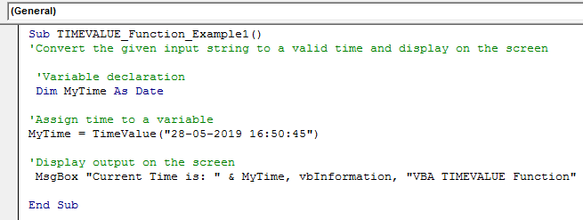 VBA TimeValue Example 1