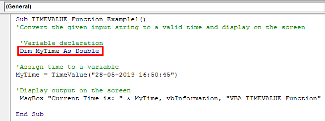 VBA TimeValue Example 2-1