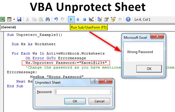 VBA UnProtect Sheet | Use VBA Code to Unprotect Excel with ...