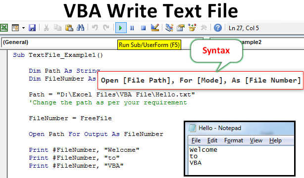 VBA Write Text Example