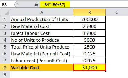 Variable Cost Example 5