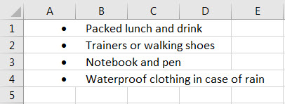 bulletpoints in excel example 3.4