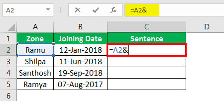 Concatenate Strings in Excel example 4.2