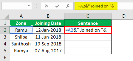 Concatenate Strings in Excel example 4.3