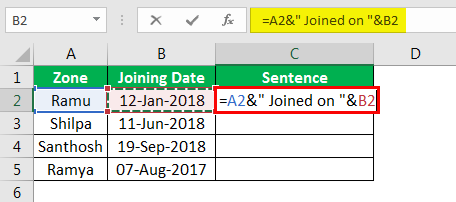 Concatenate Strings in Excel example 4.4