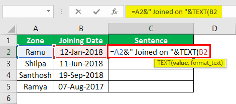 Concatenate Strings in Excel example 4.6