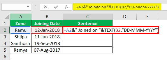 Concatenate Strings in Excel example 4.7