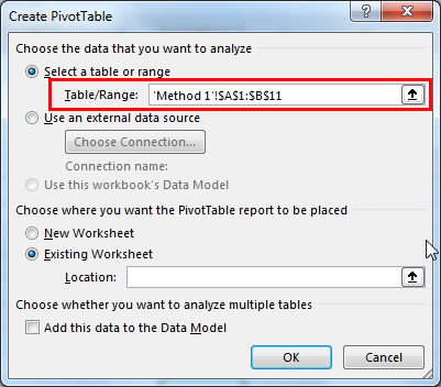 excel pivot table method 1.3