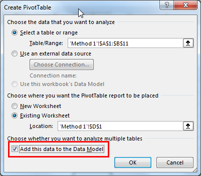 excel pivot table method 1.5