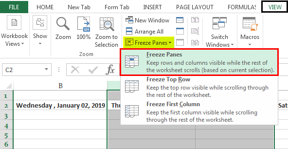 Freeze Cells in Excel 1.2
