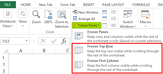 Freeze Cells in Excel Ex. 1.4