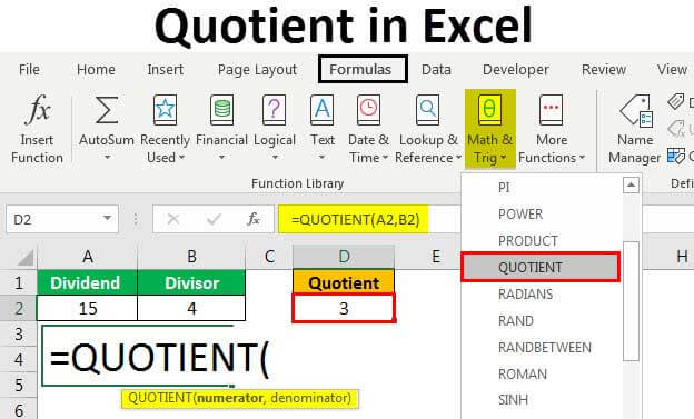 quotient-in-excel