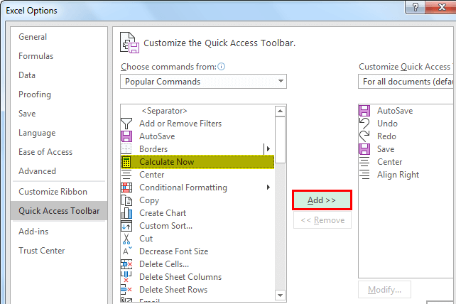 quick access toolbar in excel example method 2