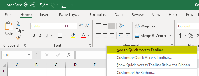 quick access toolbar in excel example method 3.1