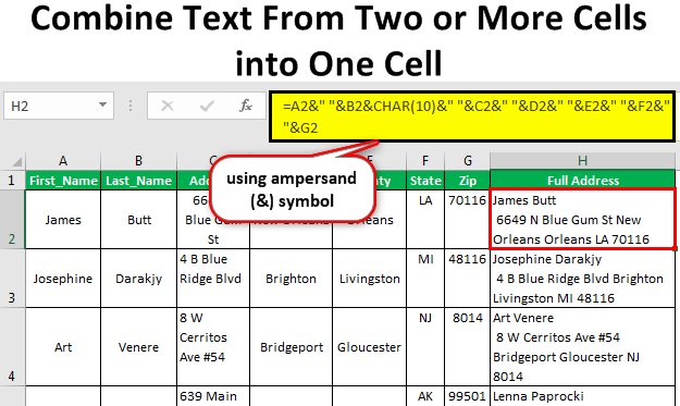 Combine Text From Two or More Cells into One Cell