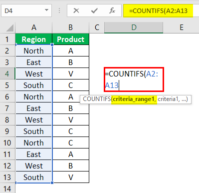 Countifs Function in Excel Example 0.1.1