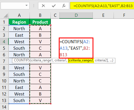 Countifs Function in Excel Example 0.1.3