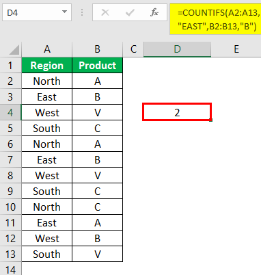 Countifs Function in Excel Example 0.1.5