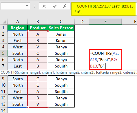 Countifs Function in Excel Example 1.1
