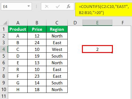 Countifs Function in Excel Example 2.6