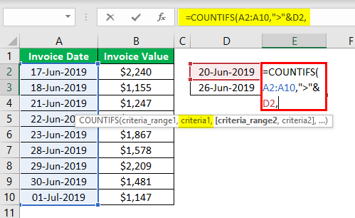 Countifs Function in Excel Example.3.4.0