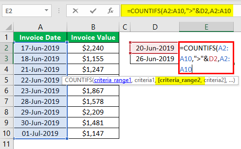 Countifs Function in Excel Example.3.5.0