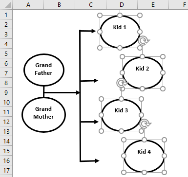 Family Tree in Excel Example 1.11