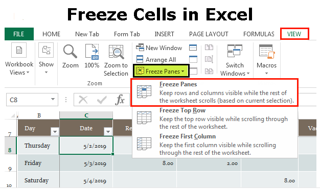 Freeze Cells in Excel
