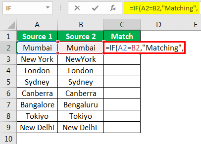 Compare Columns in Excel Example 3-2