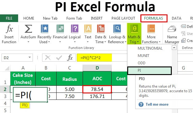 PI in Excel